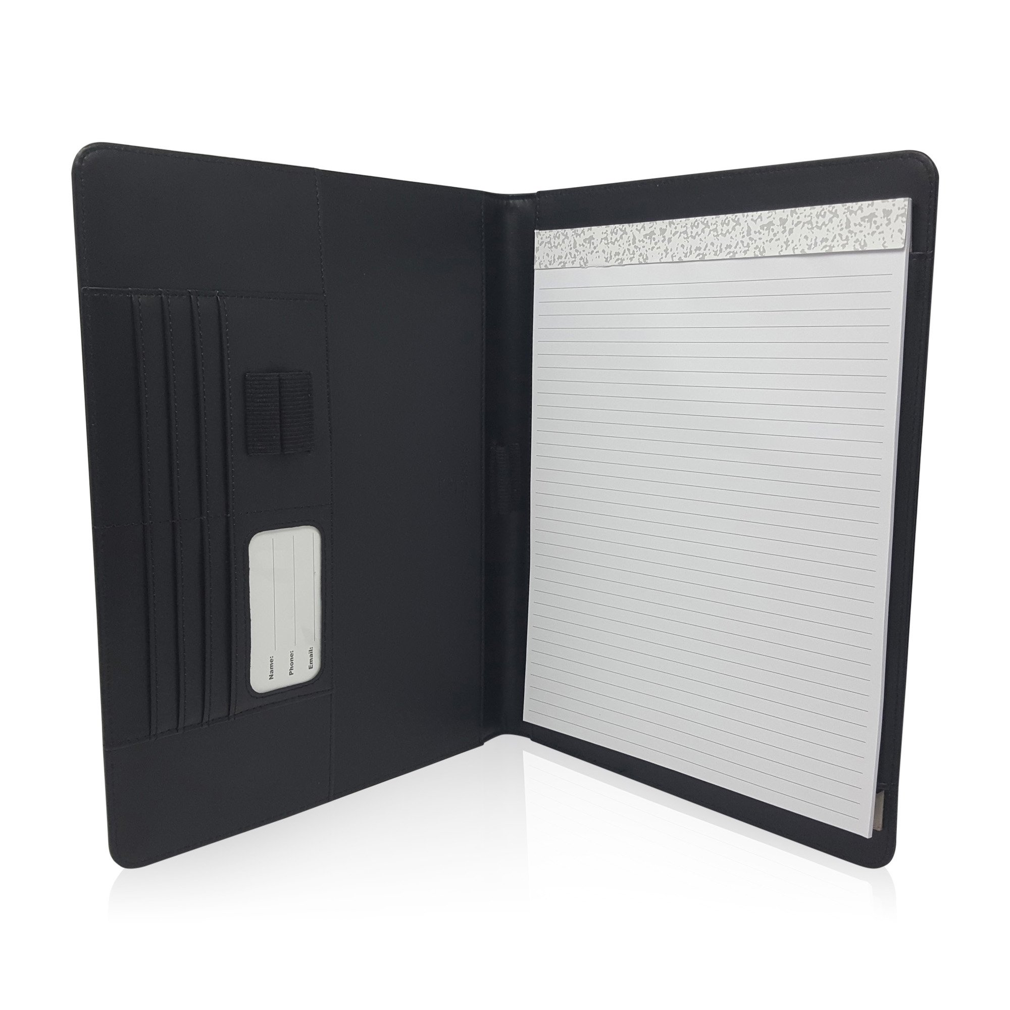 slim faux leather notepad folder  left or right